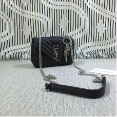 YSL Small Envelope Chain Bag Goatskin Black 18cm