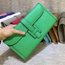 Hermes Epsom Leather Jige Clutch 29cm Green