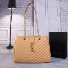 YSL Saint Laurent Monogram Shopping Bag Apricot
