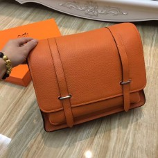 Hermes Steve Men Crossbody Leather Bag Orange