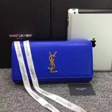 YSL Saint Laurent Clutch 27cm Smooth Leather Blue