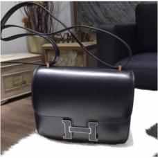 RARE Hermes Mini Constance 18cm Lizard Box Calfskin Palladium Hardware Handstitched, Noir CK89 RS16457