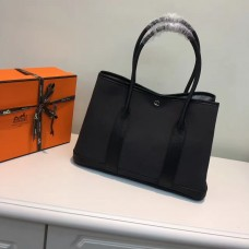 Hermes Garden Party 36cm Canvas Handbag Black