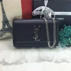 YSL Caviar Leather Chain Bag 22cm Black Silver