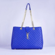 YSL Saint Laurent Monogram Shopping Bag Blue