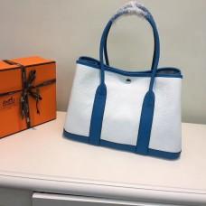 Hermes Garden Party 36cm Leather Handbag White Blue