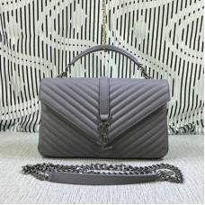 Saint Laurent Large Top Handle Chain Bag Grey 32cm