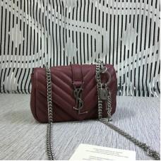 YSL Small Envelope Chain Bag Goatskin Dark Red 18cm