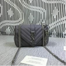 YSL Small Envelope Chain Bag Goatskin Grey 18cm
