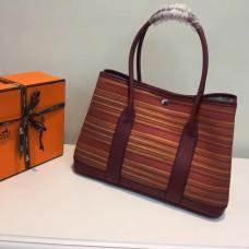Hermes Garden Party 36cm Canvas Handbag Burgundy