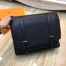 Hermes Steve Men Crossbody Leather Bag Black