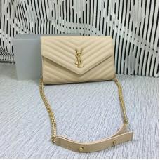 YSL Envelope Chain Bag Caviar Leather Apricot 23cm