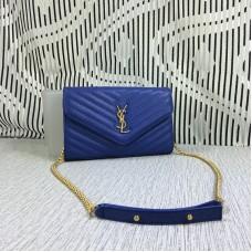 YSL Envelope Chain Bag Caviar Leather Blue 23cm