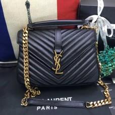 YSL Top Handle Shoulder Bag 24cm Black Gold