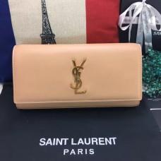 YSL Saint Laurent Clutch 27cm Smooth Leather Apricot