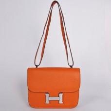 Hermes Constance 23cm Togo Leather Orange Silver