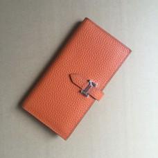 Hermes calf leather Wallet H005 in orange