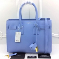 YSL Light Blue Downtown Tote Cow Leather Bags