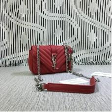 YSL Small Envelope Chain Bag Goatskin Red 18cm