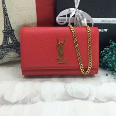 YSL Caviar Leather Chain Bag 22cm Red Gold