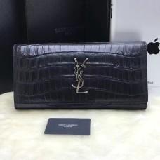 YSL Clutch 27cm Croco Leather Black Silver