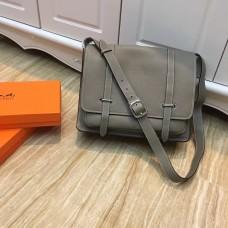 Hermes Steve Men Crossbody Leather Bag Grey