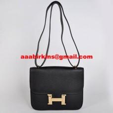 Hermes Constance Bag 23cm Togo Leather Black Gold