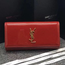 YSL Patent Leather Clutch 27cm Red
