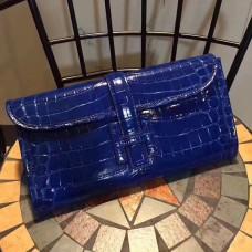 Hermes Jige Clutch 29cm Croco Blue