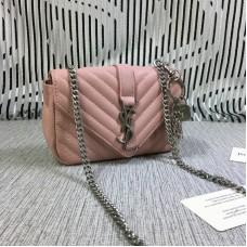 YSL Small Envelope Chain Bag Goatskin Pink 18cm