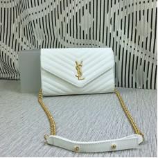 YSL Envelope Chain Bag Caviar Leather White 23cm