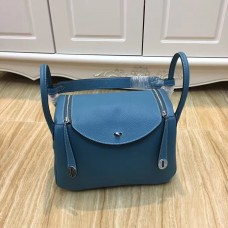 Hermes Lindy 30cm Handbag Blue Silver