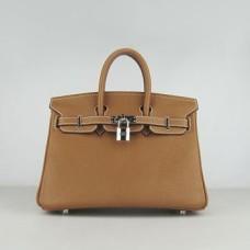 Hermes Birkin 25cm Handbag 6068 light coffee silver