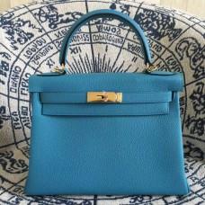 Hermes Kelly 28cm Bag Togo Leather Blue Gold