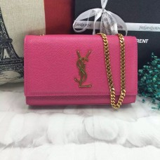 YSL Caviar Leather Chain Bag 22cm Rose Gold