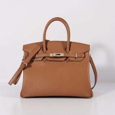 Hermes 30cm Birkin Bag Togo Leather with Strap Light Coffee Gold