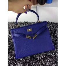 Hermes Kelly 25cm Togo Leather Blue Gold