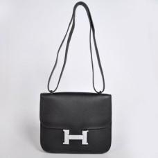Hermes Constance Bag 23cm Togo Leather Black Silver