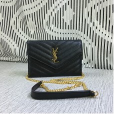 YSL Small Envelope Chain Bag Caviar Leather Black 19cm