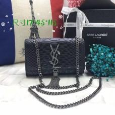 YSL Small Tassel Chain Bag 17cm Snake Black Silver