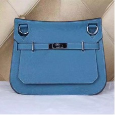 Hermes Jypsiere 28cm Crossbody Bag Blue Silver