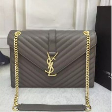 YSL Saint Laurent Classic Large Monogram Bag Grey 31cm