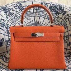 Hermes Kelly 28cm Bag Togo Leather Orange Gold