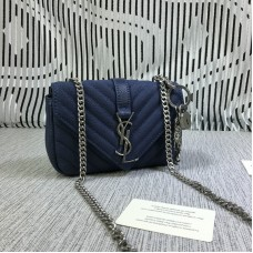 YSL Small Envelope Chain Bag Goatskin Blue 18cm