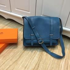 Hermes Steve Men Crossbody Leather Bag Blue