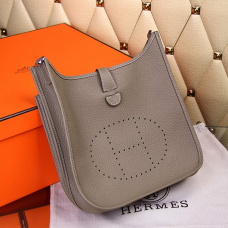 Hermes Evelyne III Togo Leather Crossbody Bag Grey