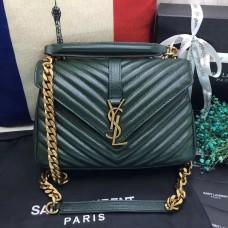 YSL Top Handle Shoulder Bag 24cm Green Gold