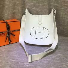 Hermes Evelyne III Togo Leather Crossbody Bag White