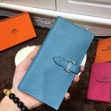 Hermes Bearn Wallet Togo Leather H005 Blue