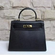Hermes Kelly 28cm Epsom Leather Handbag Black Gold